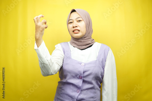 Fotografie, Obraz Beautiful young asian muslim woman upset, angry, dissatisfied, displeased, hatef