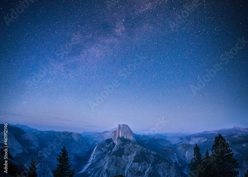 Fotografie, Obraz Half dome with milky way