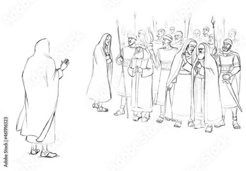Canvas Print Pharisees and high priests with soldiers in Gethsemane