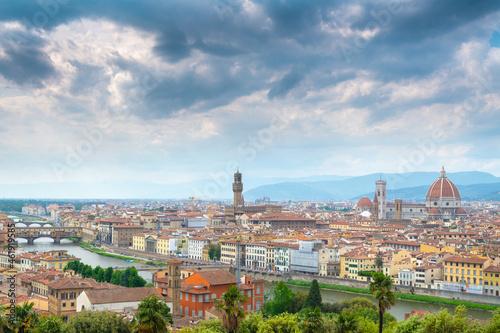 Murais de parede Dark sky over Florence cityscape