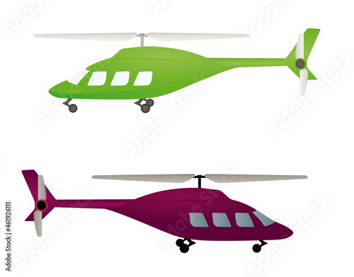 Photo Green and red  isolated helicopter. vector illustration
