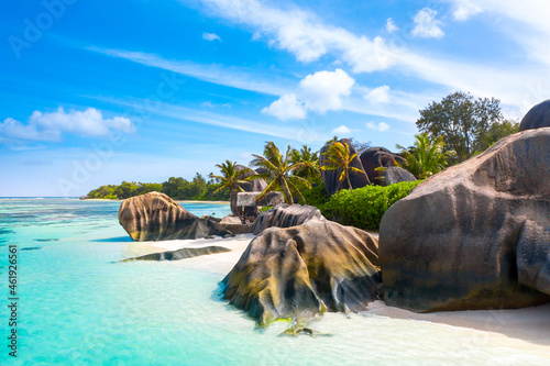 Anse Source D'Argent - the most beautiful beach of Seychelles. La Digue Island, Seychelles