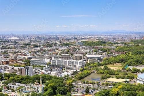 Obraz na plátně 快晴の東山タワーから見下ろした名古屋市の都市風景