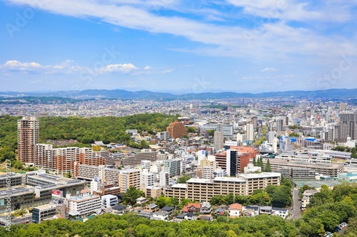 Tableau sur Toile 快晴の東山タワーから見下ろした名古屋市の都市風景