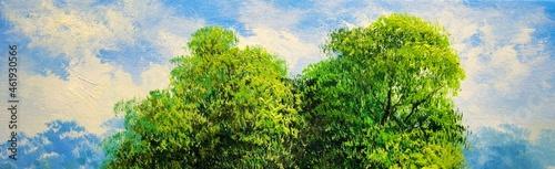 Obraz na plátně Oil paintings landscape with sky and trees. Fine art