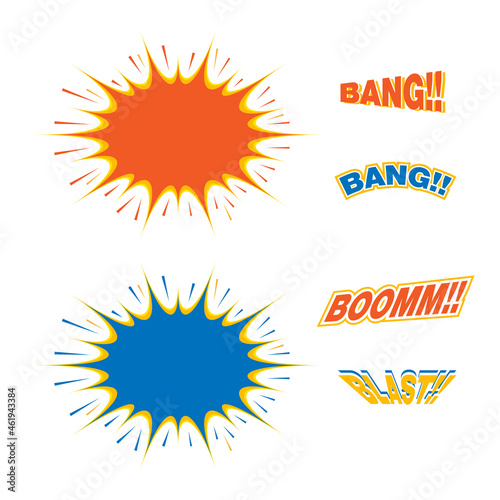 Fotografering Set of blast and text effects concept vector abstract comic elements