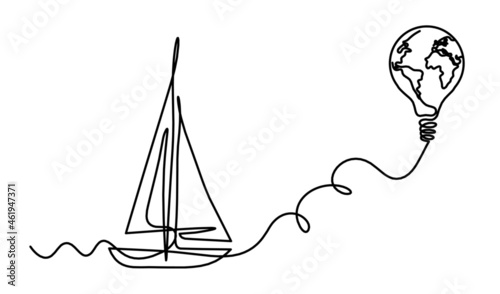 Fotografie, Obraz Abstract boat as line drawing on white background. Vector