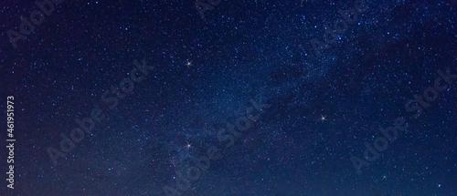 Fotografie, Obraz Panorama blue night sky milky way and star on dark background