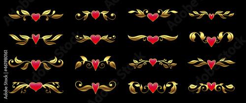 Canvastavla Gold ornate pattern with pink gem, valentine card luxury design element, text de