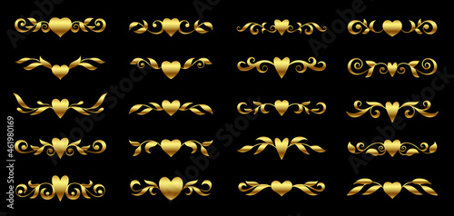 Photo Golden heart and ornate floral element for luxury valentine card design, text de