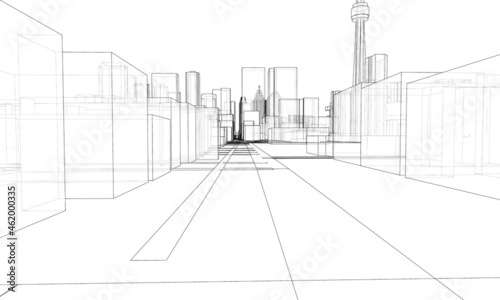 Fotografia Vector 3d urban landscape. Buildings and roads