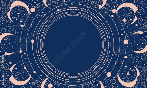 Canvas Blue mystical background with stars, clouds and orbits with place for text