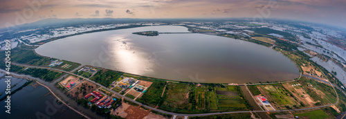 Wallpaper Mural Aerial top view of Heart shaped island (The Holy Heart Land Talayluang) at daytime in Thung Talayluang in Sukhothai,Thailand