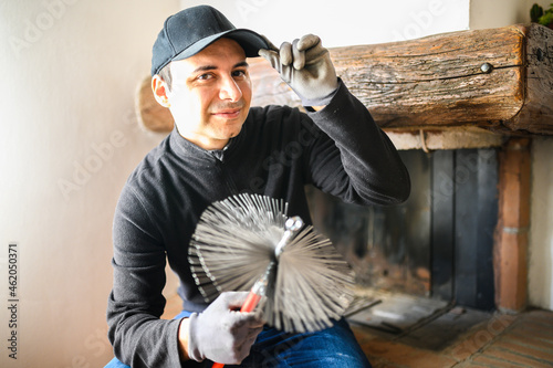 Canvastavla Young chimney sweep portrait in a house wearing a mask due to coronavirus emerge