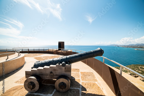 Canvas Cannons from the 17th century in Aguilas Castle, Murcia, Spain.