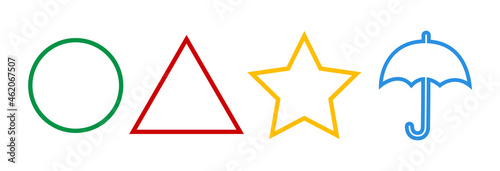 The Squid Game Symbols,Sign.Circle,star,triangle.,umbrella.Korean drama.Vector red,green,yellow,blue symbols isolated on white