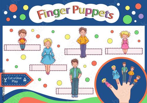 Obraz na plátně Finger puppets family