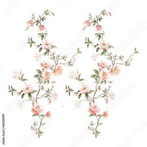 Hand painted watercolor roses peonies butterflies all kinds of flowers Fotobehang
