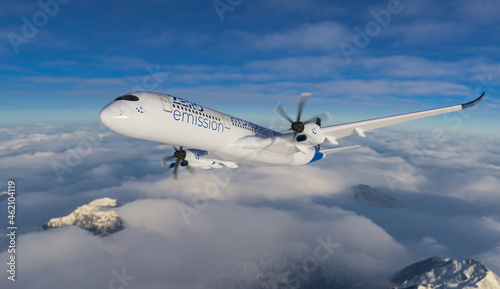 Fotografiet Blue Hydrogen filled H2 Aeroplane flying in the sky - future H2 energy concept