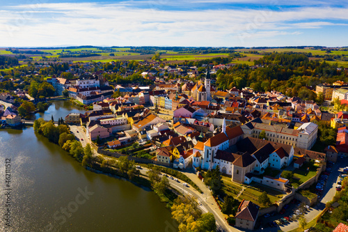 Canvas-taulu Scenic view from drone of historic center of Czech town of Jindrichuv Hradec on
