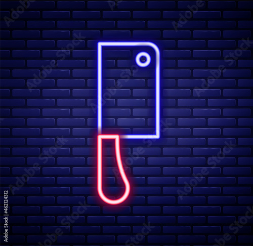 Valokuva Glowing neon line Meat chopper icon isolated on brick wall background