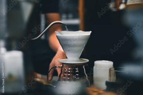 Fotografia Drip coffee on a table in a coffee shop