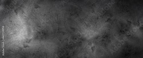 Black Dark rough concrete wall wide texture - dark grunge background