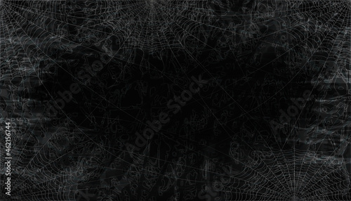 Slika na platnu Dark vector background with spider web.