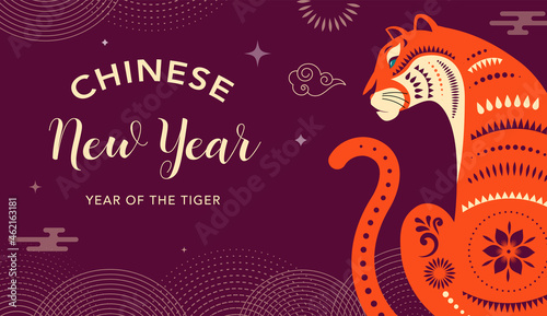 Obraz na plátně Chinese new year 2022 year of the tiger - Chinese zodiac symbol, Lunar new year