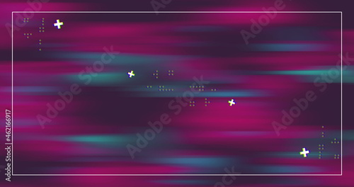Image of a fuchsia and blue color moving with a white frame and crosses icons Fototapet