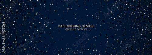 Fotografie, Obraz Holiday background design (banner) with twinkling stars pattern on blue backdrop