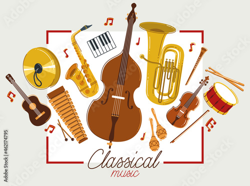 Foto Classical music instruments poster vector flat style illustration, classic orchestra acoustic flyer or banner, concert or festival live sound, diversity of musical tools