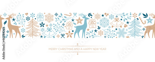 christmas card with deer berry star gift and snowflake border