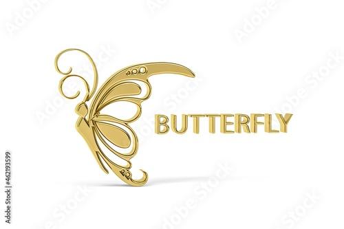 Obraz na plátně Golden 3d butterfly icon isolated on white background - 3d render