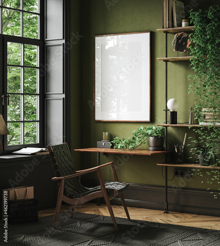 Mockup frame in home office interior background, mid-century modern style in loft, 3d render