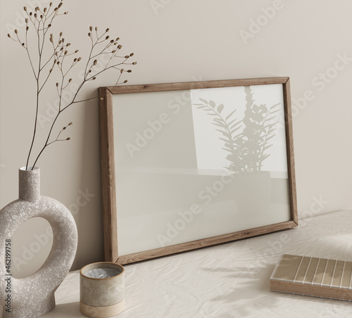 Mock up frame close up in home interior background, Boho style, 3d render