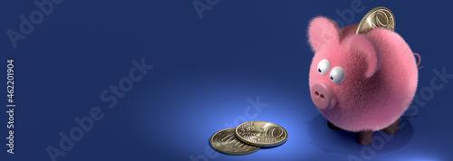 Obraz na plátne Piggy Bank, greedy for coins