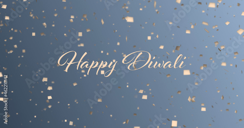 Image of happy diwali text and confetti falling on blue background