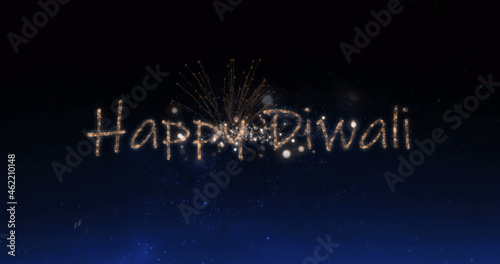 Image of happy diwali text over fireworks celebrations