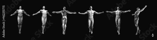 Murais de parede Jumping man.  3D human body model. 3D vector illustration.