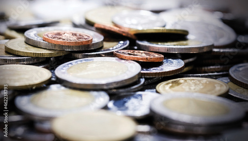 Fényképezés Macro Thai baht coins background