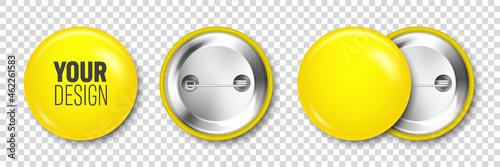Canvastavla Realistic yellow blank badge isolated on transparent background