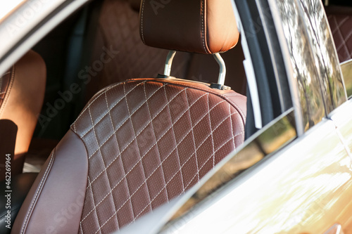 Brown leather seat in modern car
