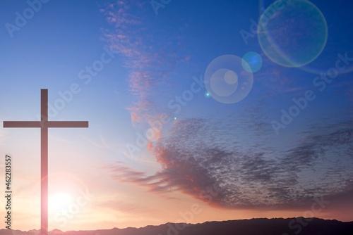 Religious Christian cross with sunset sky Fotobehang