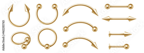 Foto Body piercing golden jewelry set, different gold accessories