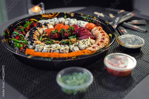 Fotografie, Obraz Close-up shot of a delicious sushi set.