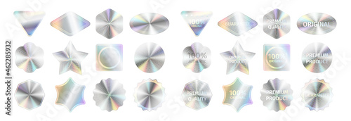 Cuadros en Lienzo Realistic holographic stickers and official seals set