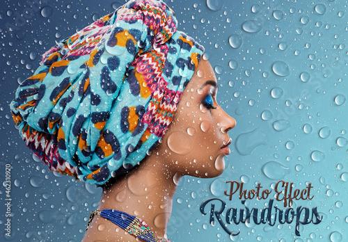 Raindrops Photo Effect Mockup