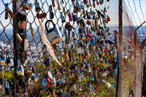 Canvastavla Locks on a Chain Link Fence at Griffith Park