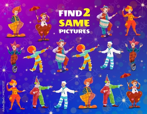 Obraz na plátne Cartoon circus clowns, find two same game, vector kids test with funny performers